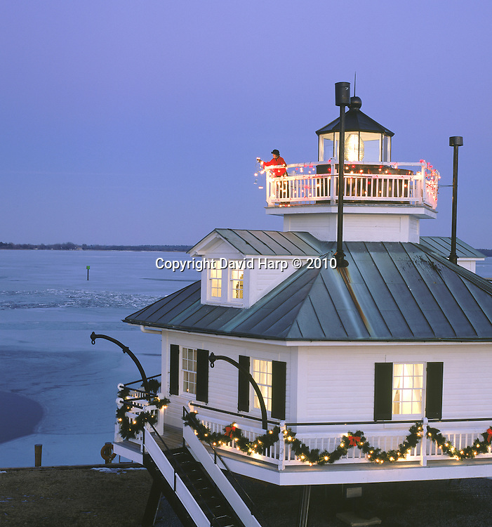 Hooper Straits Lighthouse, now at the Chesapeake Bay Maritime Museum in St. Michaels, MD, decorated for Christmas