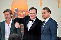 """LOS ANGELES, USA. July 23, 2019: Brad Pitt, Quentin Tarantino & Leonardo DiCaprio at the premiere of """"Once Upon A Time In Hollywood"""" at the TCL Chinese Theatre.<br /> Picture: Paul Smith/Featureflash"""