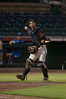 AZL Giants Black catcher Angel Guzman (16) during an Arizona League game against the AZL Royals at Scottsdale Stadium on August 7, 2018 in Scottsdale, Arizona. The AZL Giants Black defeated the AZL Royals by a score of 2-1. (Zachary Lucy/Four Seam Images)