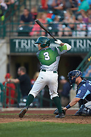 Ethan Skender (3) of the Fort Wayne TinCaps at bat against the West Michigan Whitecaps at Parkview Field on August 5, 2019 in Fort Wayne, Indiana. The TinCaps defeated the Whitecaps 9-3. (Brian Westerholt/Four Seam Images)