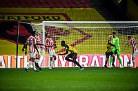 4th November 2020; Vicarage Road, Watford, Hertfordshire, England; English Football League Championship Football, Watford versus Stoke City; Ismaïla Sarr scores the winning goal for 3-2 to Watford in the 93rd minute.
