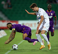 27th March 2021; HBF Park, Perth, Western Australia, Australia; A League Football, Perth Glory versus Newcastle Jets; Diego Castro of the Perth Glory is met with a heavy tackle from Luka Prso of the Newcastle Jets