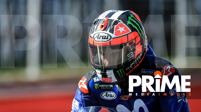 Maverick Vinales (25) of the Movistar Yamaha MotoGP race team during the GoPro British MotoGP at Silverstone Circuit, Towcester, England on 26 August 2018. Photo by Chris Brown / PRiME Media Images