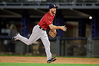 Portland Sea Dogs first baseman Jantzen Witte (11) flips to first base during a game against the Binghamton Rumble Ponies on August 31, 2018 at NYSEG Stadium in Binghamton, New York.  Portland defeated Binghamton 4-1.  (Mike Janes/Four Seam Images)