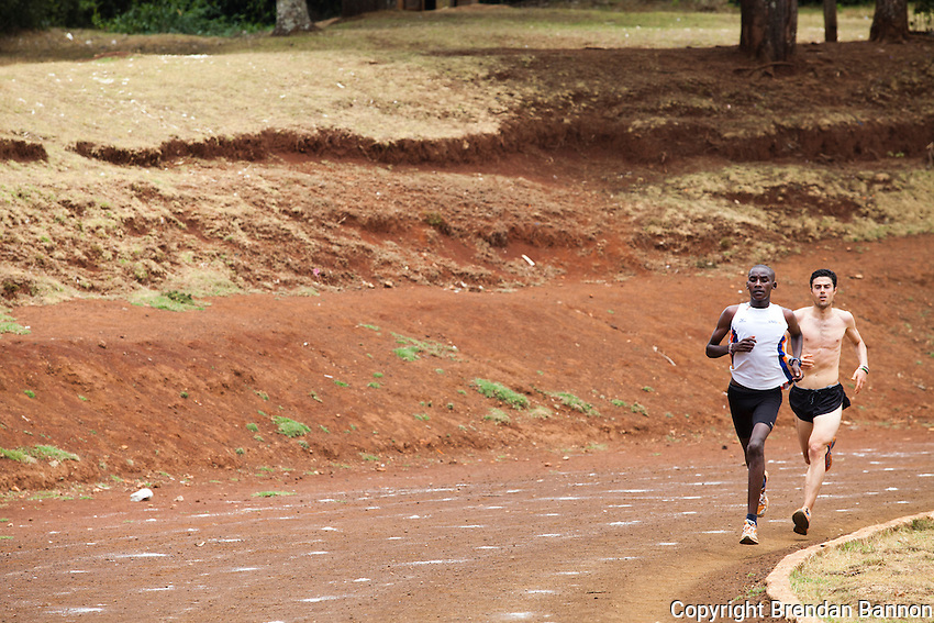 Ioannis Magkriotellis, right, a Greek marathon runner training in Iten with Kenyan athlete Johanna Kariankei. Magkriotellis is hoping to improve his time  enough through high-altitude training to qualify for  the Olympics on Greece's team. International athletes have flocked to Iten hoping to gain  advantage from training with the world's fastest  distance runners at high altitude.