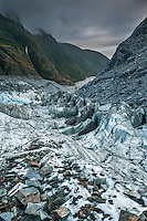 Looking towards Waiho valley from near Defiance Icefall of Franz Josef Glacier when sun sets, Westland National Park, West Coast, World Heritage, South Island, New Zealand