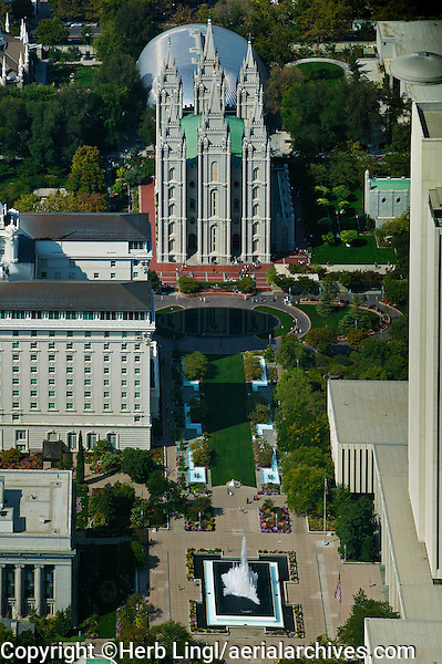 aerial photograph Salt Lake Temple,  Salt Lake City, Utah