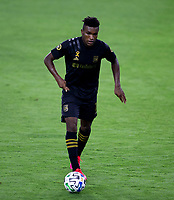 LOS ANGELES, CA - SEPTEMBER 02: Jose Cifuentes #11 of LAFC moves with the ball during a game between San Jose Earthquakes and Los Angeles FC at Banc of California stadium on September 02, 2020 in Los Angeles, California.