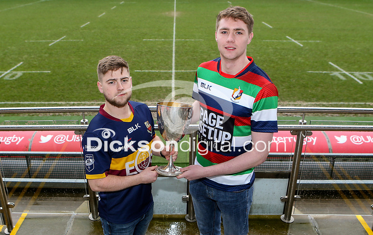 Monday 24th February 2020 | Deep River Rock Ulster Towns Cup Semi-Final Draw<br /> <br /> Pictured with the Deep River Rock Ulster Towns Cup is Banbridge RFC 2s captain Aaron Kennedy and Ballyclare RFC captain Josh Young. Photo by John Dickson / DICKSONDIGITAL