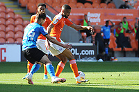 Blackpool's CJ Hamilton under pressure from Swindon Town's Rob Hunt<br /> <br /> Photographer Kevin Barnes/CameraSport<br /> <br /> The EFL Sky Bet League One - Blackpool v Swindon Town - Saturday 19th September 2020 - Bloomfield Road - Blackpool<br /> <br /> World Copyright © 2020 CameraSport. All rights reserved. 43 Linden Ave. Countesthorpe. Leicester. England. LE8 5PG - Tel: +44 (0) 116 277 4147 - admin@camerasport.com - www.camerasport.com