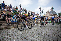 Belgian Champion Yves Lampaert (BEL/Quick Step Floors) up the Kapelmuur. <br /> <br /> Binckbank Tour 2018 (UCI World Tour)<br /> Stage 7: Lac de l'eau d'heure (BE) - Geraardsbergen (BE) 212.7km