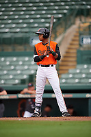 GCL Orioles Edidson Rojas (40) at bat during a Gulf Coast League game against the GCL Braves on August 5, 2019 at Ed Smith Stadium in Sarasota, Florida.  GCL Orioles defeated the GCL Braves 4-3 in the first game of a doubleheader.  (Mike Janes/Four Seam Images)