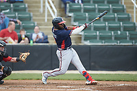 Trey Harris (2) of the Rome Braves follows through on his swing against the Kannapolis Intimidators at Kannapolis Intimidators Stadium on April 7, 2019 in Kannapolis, North Carolina. The Intimidators defeated the Braves 2-1. (Brian Westerholt/Four Seam Images)