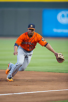 Buies Creek Astros first baseman Dexture McCall (27) on defense against the Winston-Salem Dash at BB&T Ballpark on April 13, 2017 in Winston-Salem, North Carolina.  The Dash defeated the Astros 7-1.  (Brian Westerholt/Four Seam Images)