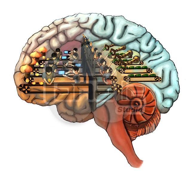 Group of people working in human brain