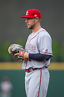 Syracuse Chiefs first baseman Matt Skole (16) on defense against the Charlotte Knights at BB&T BallPark on June 1, 2016 in Charlotte, North Carolina.  The Knights defeated the Chiefs 5-3.  (Brian Westerholt/Four Seam Images)