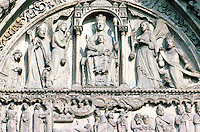 Paris: Notre Dame, Portal to St. Anne--South Porta, 12-13 C. Virgin &Christ Child in Romanesque tradition. Bishop Maurice De Sully, left. Louis VII kneeling, right.  Maurice, Bishop of Paris began  Cathedral. Photo '90.