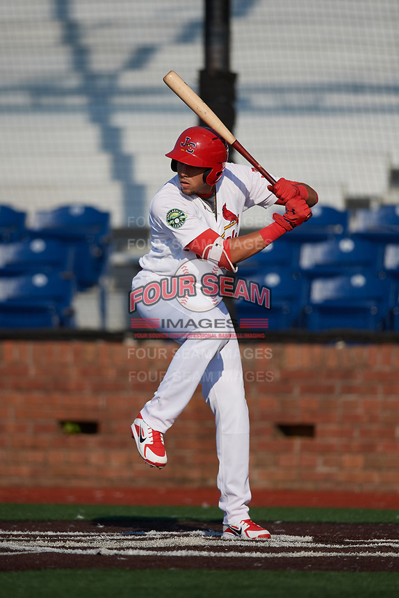 Johnson City Cardinals designated hitter Dariel Gomez (25) at bat during a game against the Danville Braves on July 29, 2018 at TVA Credit Union Ballpark in Johnson City, Tennessee.  Johnson City defeated Danville 8-1.  (Mike Janes/Four Seam Images)