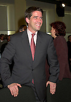 June 6 , 2002, Montreal, Quebec, Canada<br /> <br /> Andre Boisclair, Quebec Minister of Environment, Quebec Minister of Municipal Affairs<br /> smiles for photographers on the last day of<br />  the Montreal Summit (Le Sommet de MontrÈal), June 6, 2002<br /> <br /> <br />  <br /> Mandatory Credit: Photo by Pierre Roussel- Images Distribution. (©) Copyright 2002 by Pierre Roussel <br /> ON SPEC<br /> NOTE l Nikon D-1 jpeg opened with Qimage icc profile, saved in Adobe 1998 RGB.