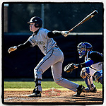 Center fielder Colin Davis (2) of the Wofford Terriers hits an RBI fly in a game against the Presbyterian Blue Hose on Wednesday, March 6, 2019, at the PC Baseball Complex, Clinton, South Carolina. PC won, 5-4. (Tom Priddy/Four Seam Images)