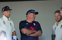 Frpm left, England captain Joe Root, coach Chris Silverwood and Ben Stokes before day one of the international cricket 1st test match between NZ Black Caps and England at Bay Oval in Mount Maunganui, New Zealand on Thursday, 21 November 2019. Photo: Dave Lintott / lintottphoto.co.nz