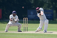 Adnan Akram hits 4 runs for Wanstead during Wanstead and Snaresbrook CC vs Harold Wood CC, Hamro Foundation Essex League Cricket at Overton Drive on 17th July 2021