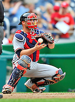 24 September 2011: Atlanta Braves catcher Brian McCann in action against the Washington Nationals at Nationals Park in Washington, DC. The Nationals defeated the Braves 4-1 to even up their 3-game series. Mandatory Credit: Ed Wolfstein Photo