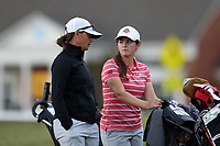 CHAPEL HILL, NC - OCTOBER 13: Adeena Shears  of the Ohio State University talks with assistant coach Stacy Snider at UNC Finley Golf Course on October 13, 2019 in Chapel Hill, North Carolina.