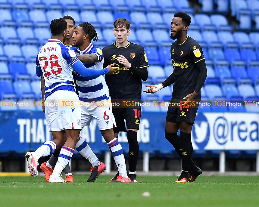 Josh Laurent of Reading left has a difference of opinion with Nathaniel Chalobah of Watford right during Reading vs Watford, Sky Bet EFL Championship Football at the Madejski Stadium on 3rd October 2020