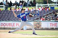 Josh Sborz (27) of the Rancho Cucamonga Quakes pitches against the Inland Empire 66ers at San Manuel Stadium on April 27, 2016 in San Bernardino, California. Rancho Cucamonga defeated Inland Empire, 2-1. (Larry Goren/Four Seam Images)