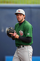 Fort Wayne TinCaps pitcher Chris Huffman (8) throws in the bullpen before a game against the Lake County Captains on May 20, 2015 at Classic Park in Eastlake, Ohio.  Lake County defeated Fort Wayne 4-3.  (Mike Janes/Four Seam Images)