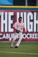 Syracuse Chiefs left fielder Alejandro De Aza (30) settles under a fly ball during a game against the Buffalo Bisons on July 3, 2017 at Coca-Cola Field in Buffalo, New York.  Buffalo defeated Syracuse 6-2.  (Mike Janes/Four Seam Images)