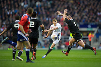 Owen Farrell of England drops a goal just before half time during the QBE Autumn International match between England and New Zealand at Twickenham on Saturday 01 December 2012 (Photo by Rob Munro)