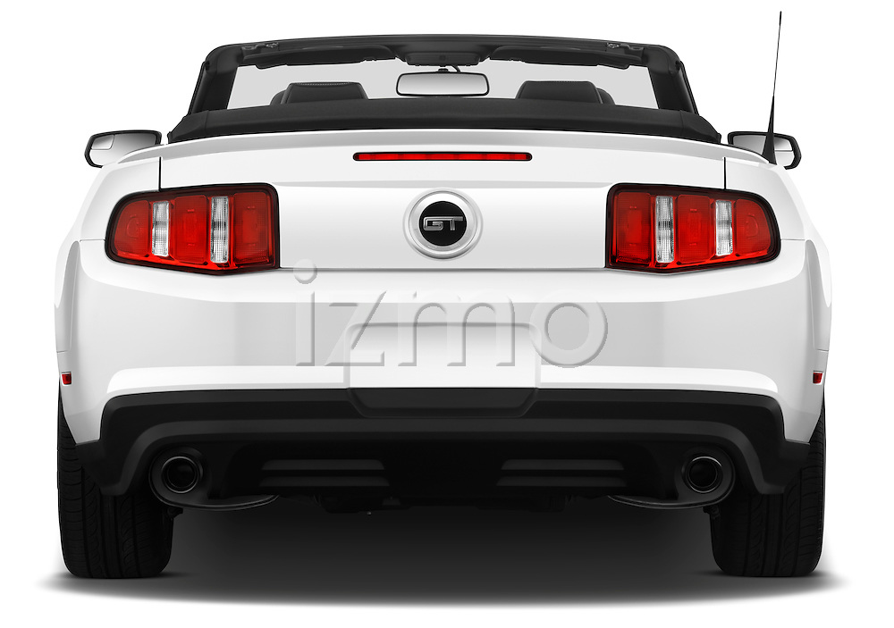 Straight rear view of a 2011 ford mustang gt premium convertible