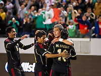 CARSON, CA - March 25, 2012: Eric Torres (15) of Mexico and his teammates celebrating his game winning goal during the Mexico vs Panama match at the Home Depot Center in Carson, California. Final score Mexico 1, Panama 0.