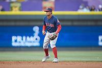 Salem Red Sox shortstop Santiago Espinal (5) on defense against the Winston-Salem Dash at BB&T Ballpark on April 21, 2018 in Winston-Salem, North Carolina.  The Dash walked-off the Red Sox 4-3.  (Brian Westerholt/Four Seam Images)