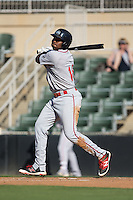 Josh Ockimey (18) of the Greenville Drive follows through on his swing against the Kannapolis Intimidators at Intimidators Stadium on June 7, 2016 in Kannapolis, North Carolina.  The Drive defeated the Intimidators 4-1 in game one of a double header.  (Brian Westerholt/Four Seam Images)
