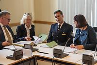 Sondersitzung Innenausschuss des Berliner Abgeordnetenhauses am Montag den 17. September 2018.<br /> Die Oppositionsfraktionen CDU und FDP hatten die Sitzung beantragt, da sie die Ernennung der frueheren Polizei-Vizepraesidentin Margarete Koppers zur Generalstaatsanwaeltin scharf kritisieren. Dem InnensenatorAndreas Geisel (SPD) wird vorgeworfen, ein Disziplinarverfahren gegen die fruehere Polizei-Vizepraesidentin unterbunden zu haben. Gegen Koppers laufen Ermittlungen Wegen der vergifteten Polizei-Schiessstaende. Ihr wird vorgeworfen, als Polizei-Vizepraesidentin zu wenig gegen die schadstoffbelasteten Schiessstaende getan zu haben. Erst Anfang September starb ein Schiesstrainer.<br /> Im Bild: 1.vl., Joerg Raupach, leitender Oberstaatsanwalt. 3.vl. Marco Langner, Polizeivizepraesident. Rechts: Martina Gerlach, Staatssekretaerin fuer Justiz.<br /> 17.9.2018, Berlin<br /> Copyright: Christian-Ditsch.de<br /> [Inhaltsveraendernde Manipulation des Fotos nur nach ausdruecklicher Genehmigung des Fotografen. Vereinbarungen ueber Abtretung von Persoenlichkeitsrechten/Model Release der abgebildeten Person/Personen liegen nicht vor. NO MODEL RELEASE! Nur fuer Redaktionelle Zwecke. Don't publish without copyright Christian-Ditsch.de, Veroeffentlichung nur mit Fotografennennung, sowie gegen Honorar, MwSt. und Beleg. Konto: I N G - D i B a, IBAN DE58500105175400192269, BIC INGDDEFFXXX, Kontakt: post@christian-ditsch.de<br /> Bei der Bearbeitung der Dateiinformationen darf die Urheberkennzeichnung in den EXIF- und  IPTC-Daten nicht entfernt werden, diese sind in digitalen Medien nach §95c UrhG rechtlich geschuetzt. Der Urhebervermerk wird gemaess §13 UrhG verlangt.]