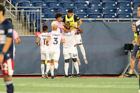 FOXBOROUGH, MA - SEPTEMBER 04: Forward Madison FC celebrate their second goal of the night during a game between Forward Madison FC and New England Revolution II at Gillette Stadium on September 04, 2020 in Foxborough, Massachusetts.