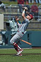 Boston College Eagles third baseman Luke Gold (1) catches a pop fly during the game against the Virginia Tech Hokies at English Field on April 3, 2021 in Blacksburg, Virginia. (Brian Westerholt/Four Seam Images)