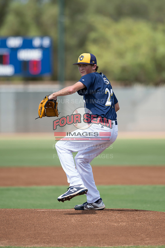 Milwaukee Brewers starting pitcher Reese Olson (27) delivers a pitch during an Instructional League game against the Los Angeles Dodgers at Maryvale Baseball Park on September 24, 2018 in Phoenix, Arizona. (Zachary Lucy/Four Seam Images)