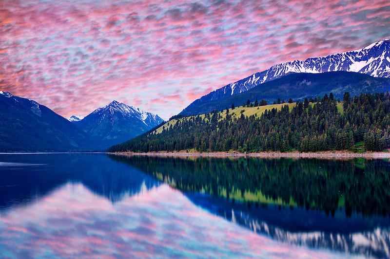 Wallowa Lake with sunrise. Oregon