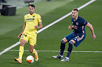 29th April 2021; Ceramica Stadium, Villareal, Spain; EUropa League semi-final football, Villareal CF versus Arsenal;  Alfonso Pedraza of Villarreal CF and Calum Chambers of Arsenal FC during the UEFA Europa League match