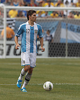 Argentina defender Federico Fernandez (17) brings the ball forward. In an international friendly (Clash of Titans), Argentina defeated Brazil, 4-3, at MetLife Stadium on June 9, 2012.