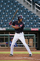 AZL Indians center fielder Quentin Holmes (70) at bat against the AZL Rangers on August 26, 2017 at Goodyear Ball Park in Goodyear, Arizona. AZL Indians defeated the AZL Rangers 5-3. (Zachary Lucy/Four Seam Images)
