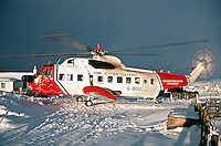 H.M. Coastguard Sikorsky S.61N Helicopter on Shetland to transfer casualty to the mainland hospital. This image may only be used to portray the subject in a positive manner..©shoutpictures.com..john@shoutpictures.com
