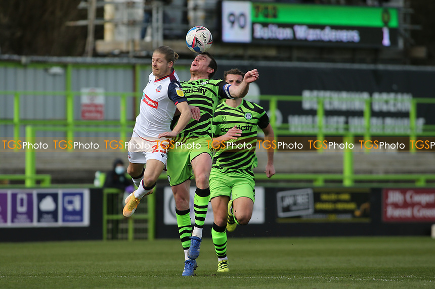 Forest Green Rovers's Chris Stokes wins a header during Forest Green Rovers vs Bolton Wanderers, Sky Bet EFL League 2 Football at The New Lawn on 27th March 2021