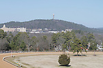 A view of the Hot Springs Mountain tower from the roof at Oaklawn Park  in Hot Springs, Arkansas on January 20, 2014. (Credit Image: © Justin Manning/Eclipse/ZUMAPRESS.com)