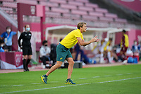 KASHIMA, JAPAN - JULY 27: Australia head coach Tony Gustavsson giving directions before a game between Australia and USWNT at Ibaraki Kashima Stadium on July 27, 2021 in Kashima, Japan.
