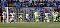 Joe Hart of Manchester City saves the ball from a Swansea cross during the Swansea City FC v Manchester City Premier League game at the Liberty Stadium, Swansea, Wales, UK, Sunday 15 May 2016